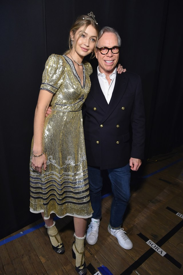 NEW YORK, NY - FEBRUARY 15: Model Gigi Hadid (L) and designer Tommy Hilfiger pose backstage at the Tommy Hilfiger Women's Fall 2016 show during New York Fashion Week: The Shows at Park Avenue Armory on February 15, 2016 in New York City. (Photo by Mike Coppola/Getty Images for Tommy Hilfiger)