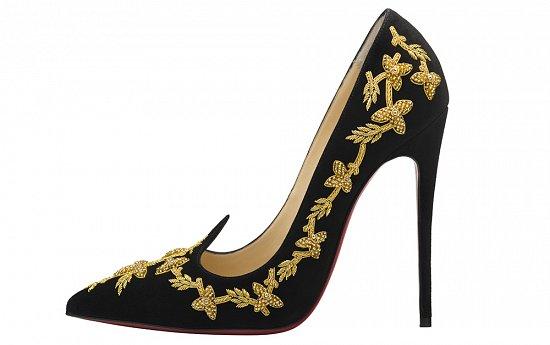 Роскошные черные туфли лабутены, расшитые золотом – фото новинки в коллекции Christian Louboutin весна-лето 2016