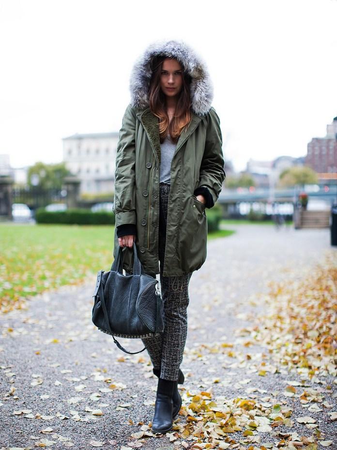 Фото новинки: женская куртка парка – интересные сочетания с другой одеждой