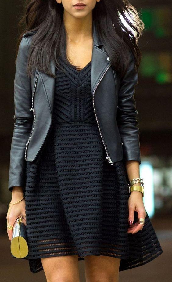 Грубоватая кожаная куртка косуха весны 2016 с женственным платьем – фото новинки и тренды сезона