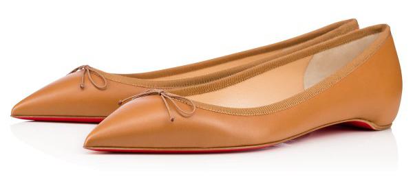 Новая интересная новинка- от Кристиана Лубутена туфли в стиле nude, светло коричневые балетки.