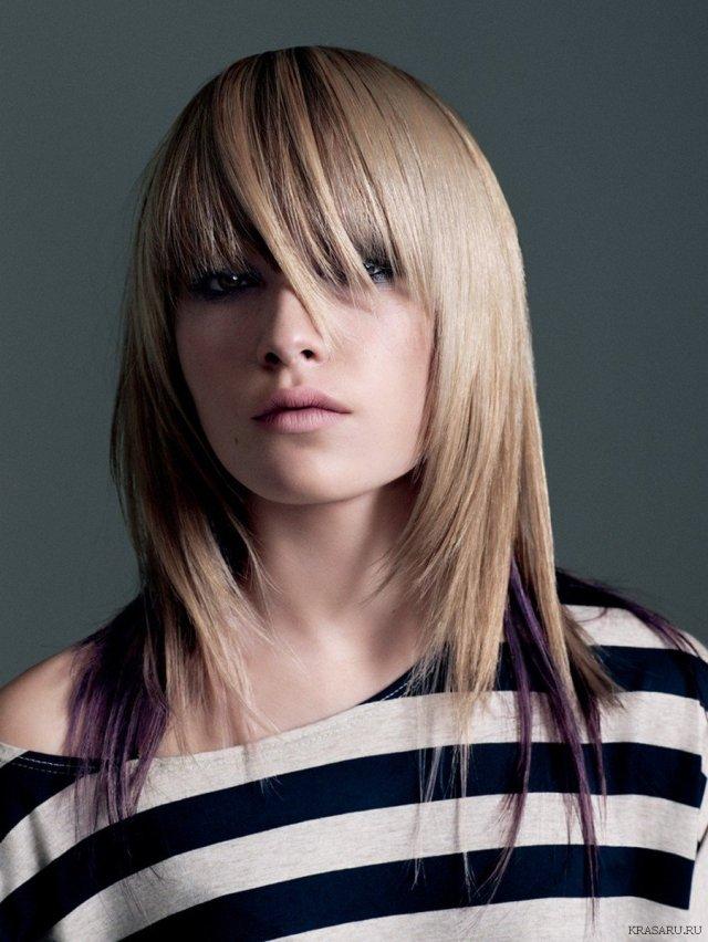 Градуированная стрижка на длинные волосы.