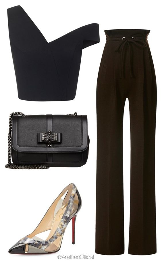 На фото: универсальные вечерние наряды - базовой являются брюки с высокой талией.