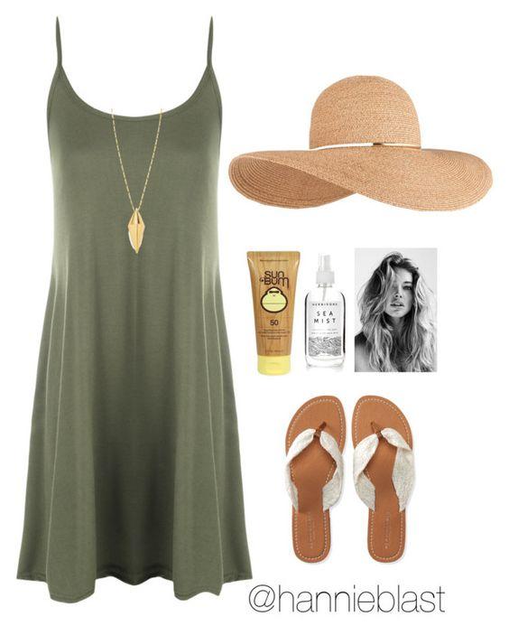 На фото: модный лук для знойного летакупальник - купальник, сарафан, вьетнамки, соломенная шляпа.