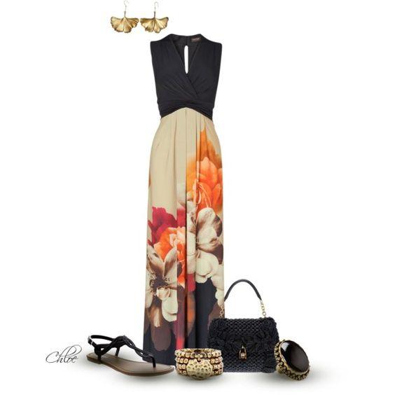На фото: новый лук с длинным платьем с принтом.