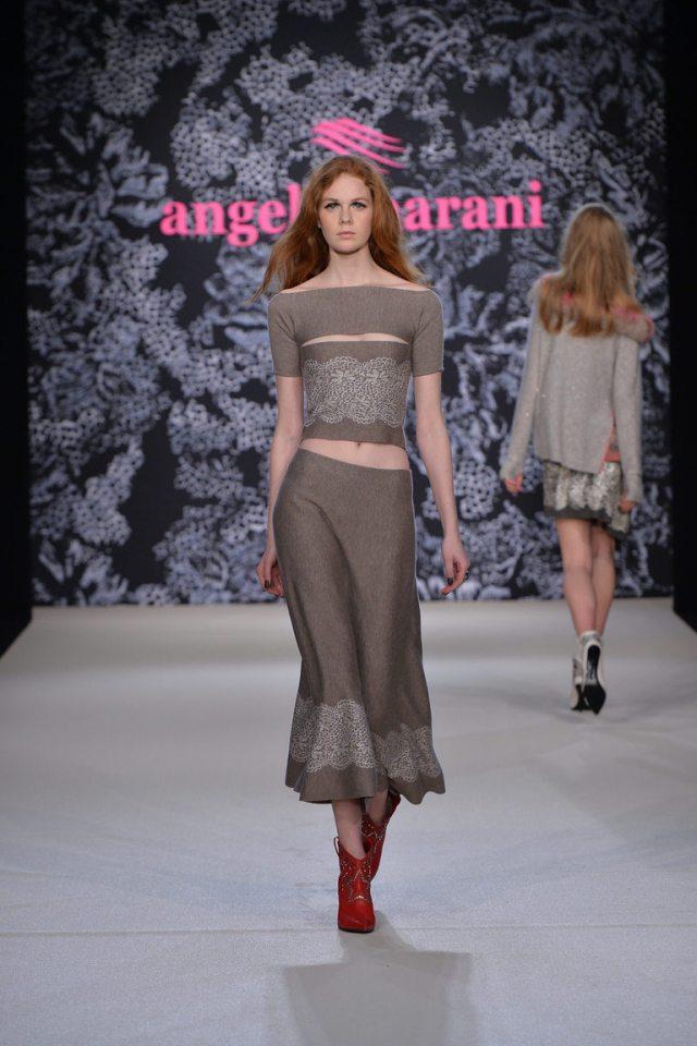 Строгая модная юбка 2017 с кружевами из коллекции Angelo Marani