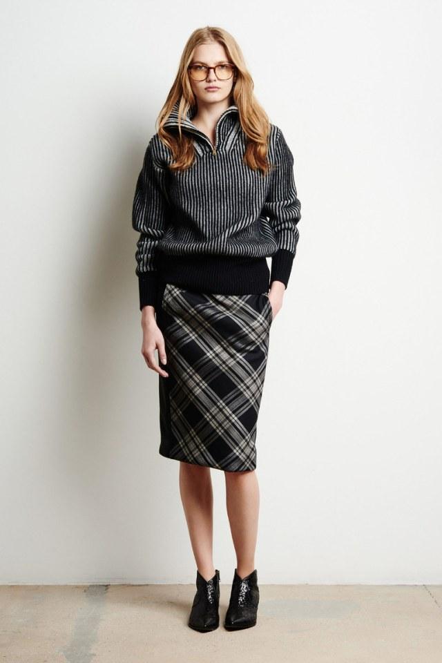 Модная юбка-карандаш в клетку, модель 2017 года из коллекции Tomas Maier.