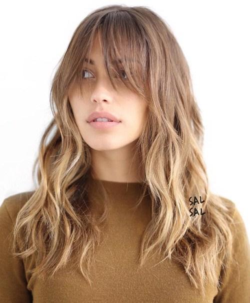 Стрижка с челкой длинные волосы и окрашивание
