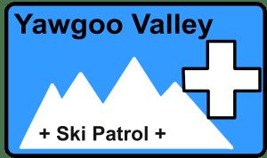 Blue box with mountains and ski patrol icon