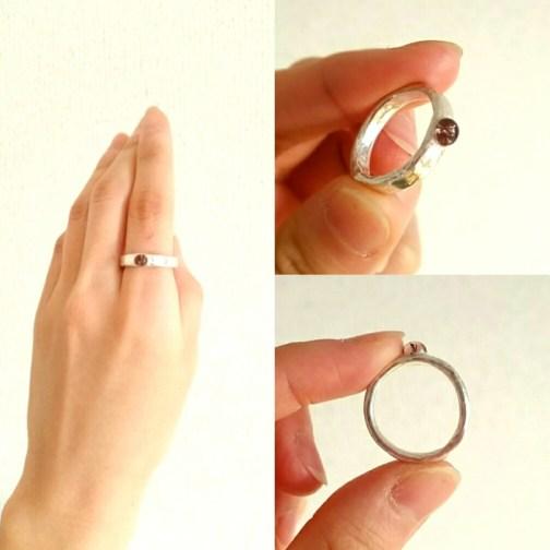 銀粘土の指輪作り体験で制作したピンクトルマリンの指輪