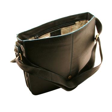 Ashwood – Black Leather Messenger Bag with Blue Coloured Stitching