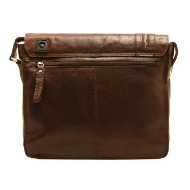 Rowallan – Brown Pittsburgh Flap Over Messenger Bag in Oil Tanned Buffalo Leather