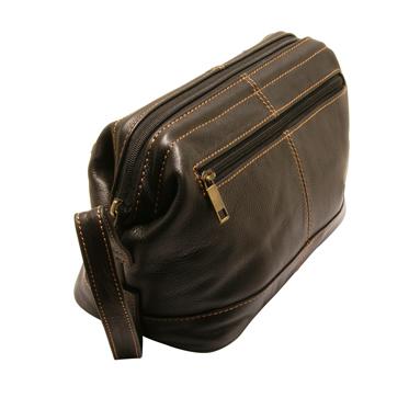 Rowallan – Black Buchanan Top Frame Soft Cowhide Leather Wash Bag