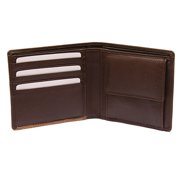 PellMell – Soft Brown Leather Coin Purse Wallet with Engraved Golfer Design