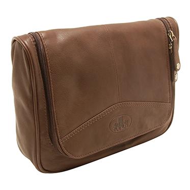 Rowallan – Brown Hanging Holborn Wash Bag in Full Grain Cow Softy Leather