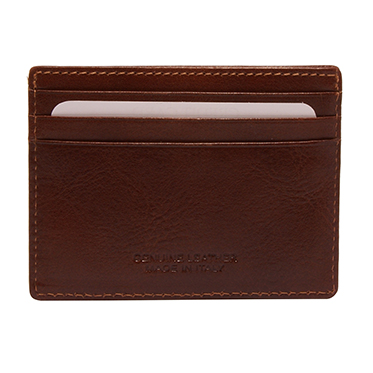 Hansson – Brown Italian Leather Slim Credit Card Holder with RFID Protection
