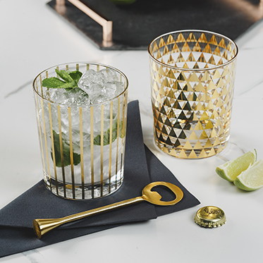 The Just Slate Company – Set of 2 Patterned Drinking Glasses in Gift Box