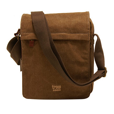 Troop London – Brown Classic Canvas Medium Messenger/Body Bag with Leather Trim