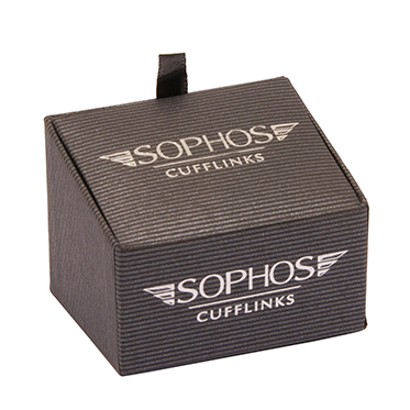 Sophos – Brushed Silver Cufflinks with Matt Black Centre & Crystal in Gift Box