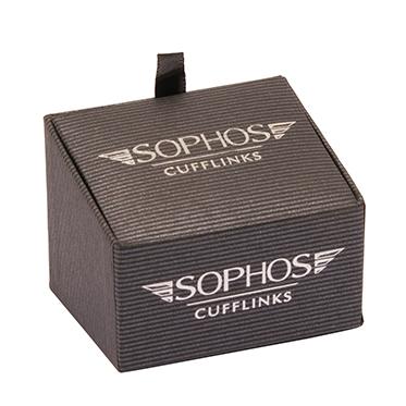 Sophos – Purple Stripe Square Cufflinks in Gift Box
