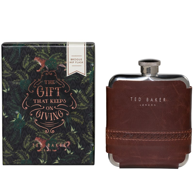 Ted Baker – Walnut Brown Brogue Hip Flask in Presentation Gift Box