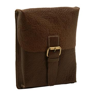 Ashwood – Small Brown Jeff Messenger Bag in Buff Grain Leather