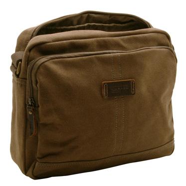 Troop London – Brown Heritage Across Body Tablet Messenger Bag in Canvas-Leather