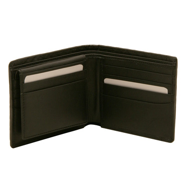 Hansson – Black Billfold Wallet with Removable Card Sleeve in Woven Cow Napa Leather