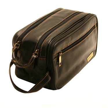 Rowallan – Black Double Zip Buchanan Soft Cowhide Leather Wash Bag