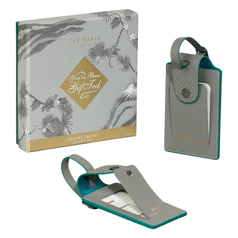 Ted Baker – Set of 2 Ash Grey Luggage Tags in Presentation Gift Box