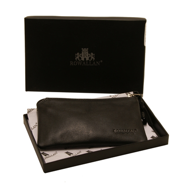Rowallan – Small Black Cossack Coin Purse in Calf Leather with Gift Box