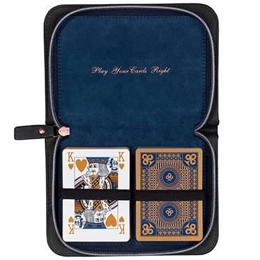 Ted Baker – Black Brogue Voyager's Playing Card Set in Zip Around Case