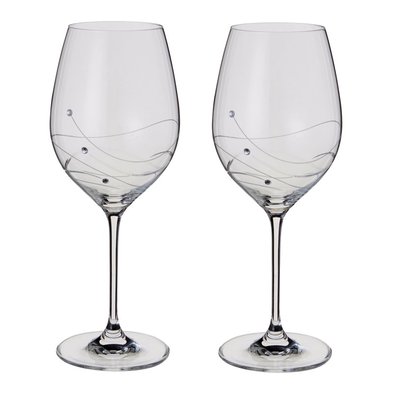 Dartington Crystal – Glitz Collection Pair of Goblet Wine Glasses in Gift Box