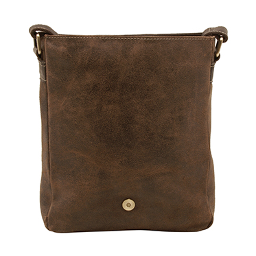 Rowallan – Brown North/South Brushwood Messenger Bag in Distressed Leather