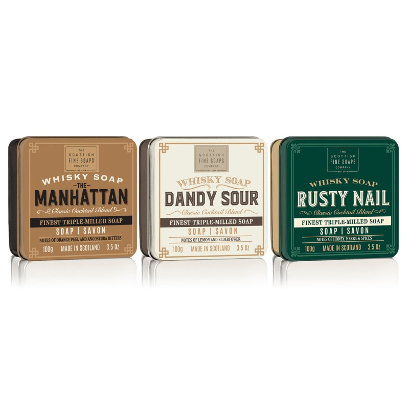 The Scottish Fine Soaps Company – 3 Whisky Cocktails Range Soaps in Gift Tins