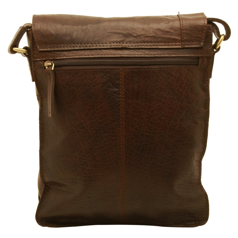 Rowallan – Brown North/South Conquest Messenger Bag in Pull Up Cowhide Leather