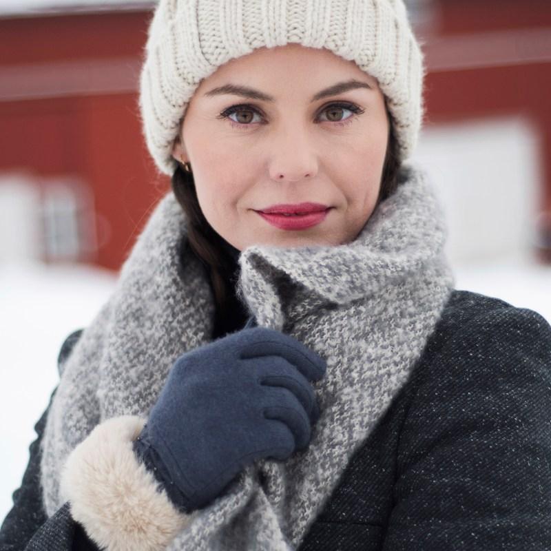 Powder – Charcoal Grey Tamara Wool Gloves with Powder Presentation Gift Bag