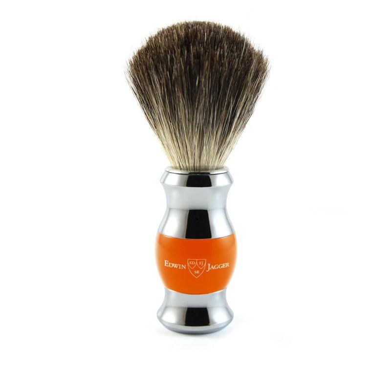 Edwin Jagger – Orange & Chrome Shaving Brush (Black Synthetic) in Gift Box