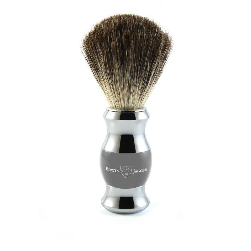 Edwin Jagger – Grey & Chrome Shaving Brush (Black Synthetic) in Gift Box