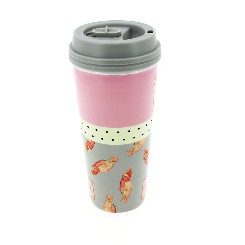 Yvonne Ellen – Grey with Pink Parrot Print Thermal Travel Tumbler/Mug