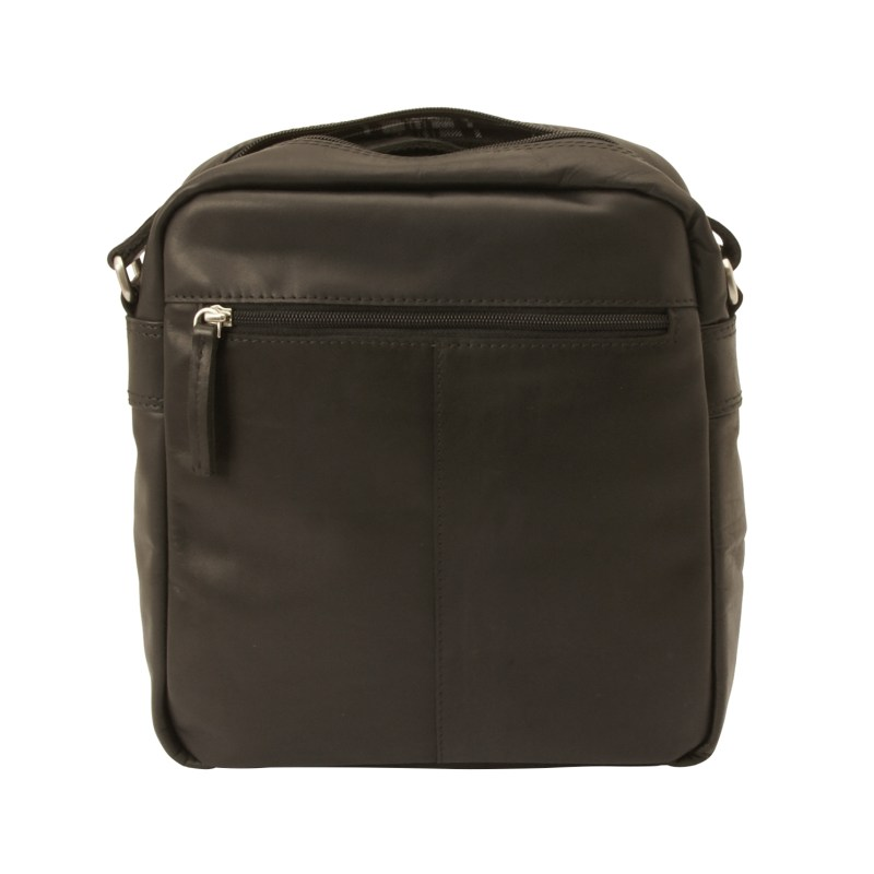 Rowallan – Black Conquest North/South Top Zip Messenger Bag in Buffalo Leather