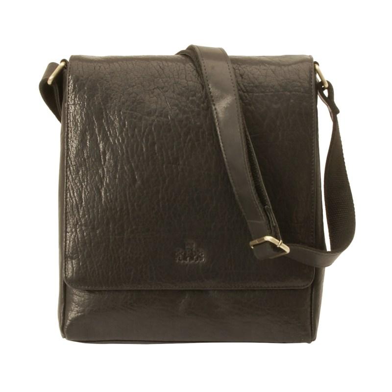 Rowallan – Black Veneer North/South Front Flap Messenger Bag in Buffalo Leather
