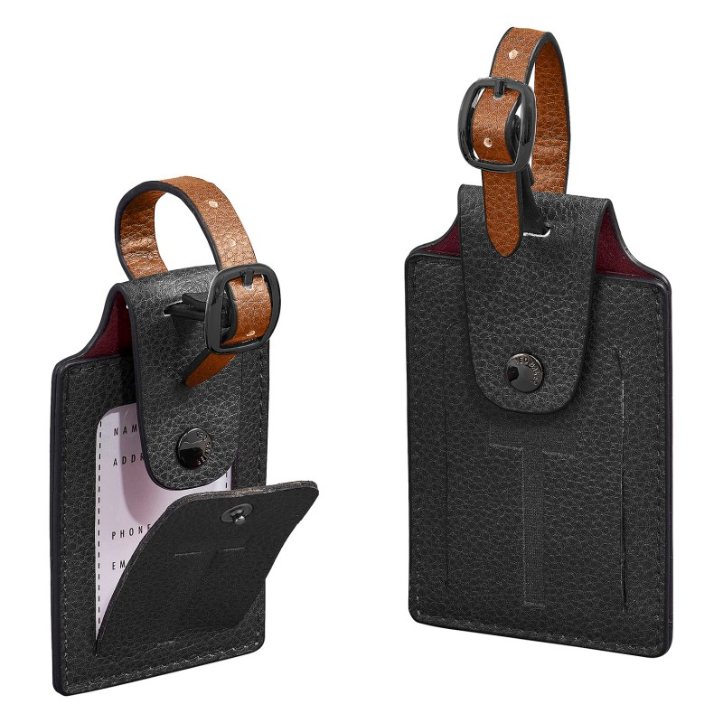 Ted Baker – Set of 2 Black Textured Luggage Tags in Presentation Gift Box