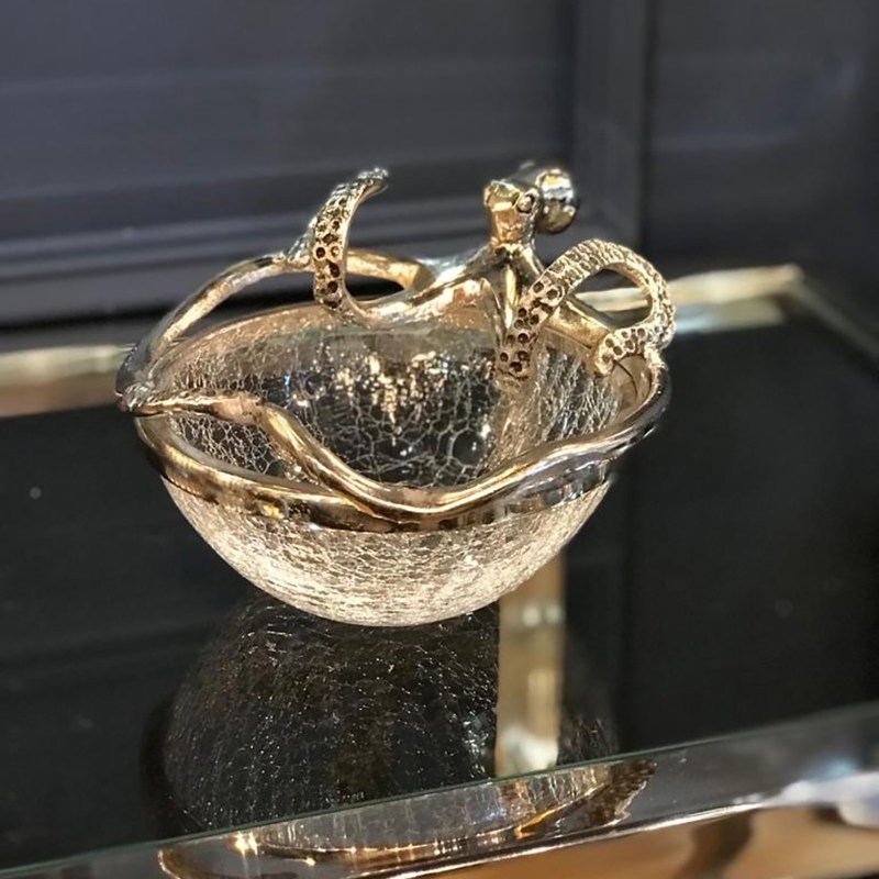 Culinary Concepts – Small Octopus with Crackled Glass Bowl in Gift Box