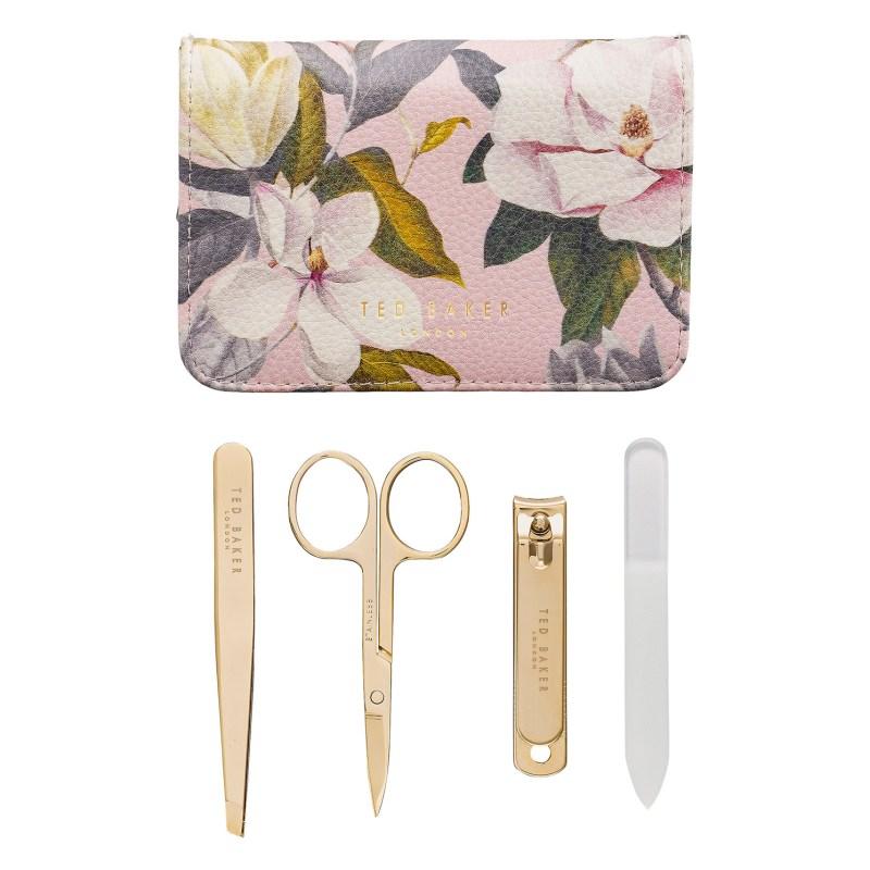 Ted Baker – 4 Piece Manicure Set in Pink Opal Textured Zip Around Case
