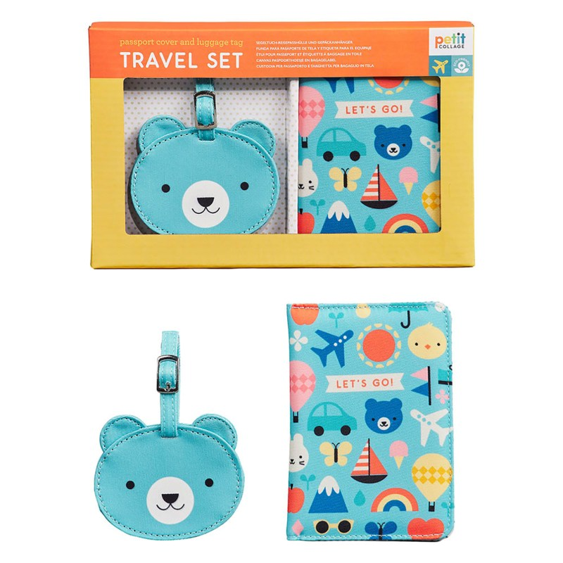 Petit Collage – Baby Passport Cover & Luggage Tag Boxed Travel Gift Set