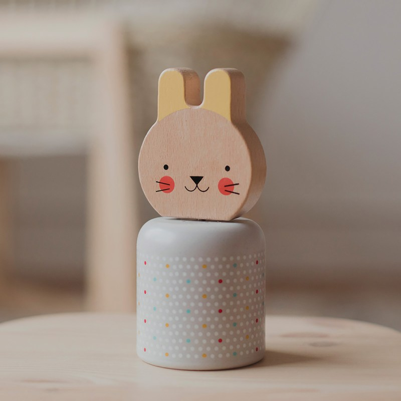 Petit Collage – Wooden Wind-Up Musical Bunny in Box