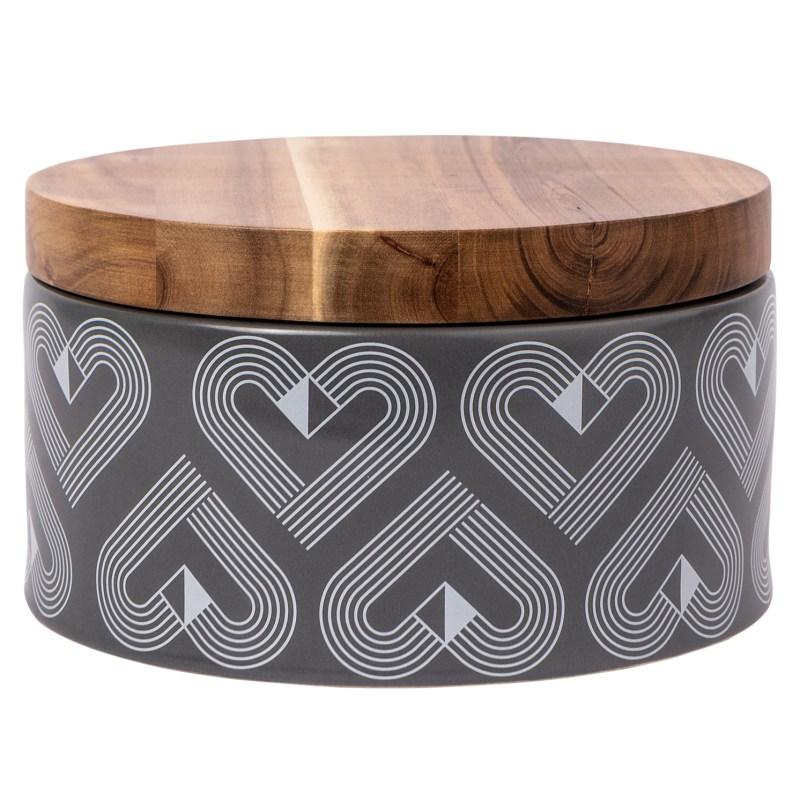 Beau & Elliot – Vibe Grey Slate Large Round Ceramic Storage Jar with Wooden Lid