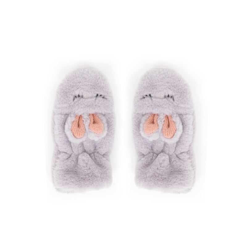 Powder – Kid's Fluffy Bunny Mittens in Slate with Powder Presentation Gift Box