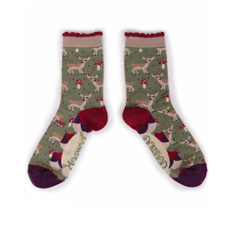 Powder – Moss Green Baby Deer Ankle Socks with Presentation Gift Bag